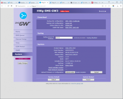 WWW interface with default button in HWg-SMS-GW3 devices